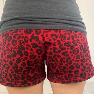 Red leopard print high rise shorts